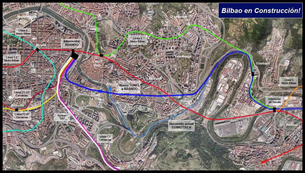Entrada a Bilbao Euskotren y red Ferroviaria 2011 Google Earth