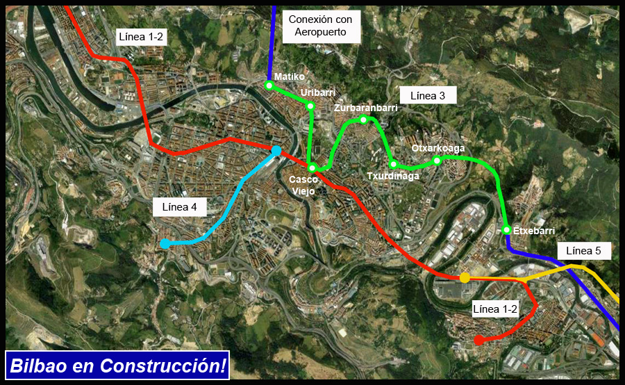 Línea 3 AdemA Bilbao en Construcción! Google Earth