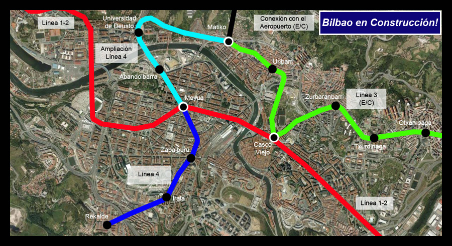 Ampliación Línea 4 Bilbao en Construcción! Google Earth.