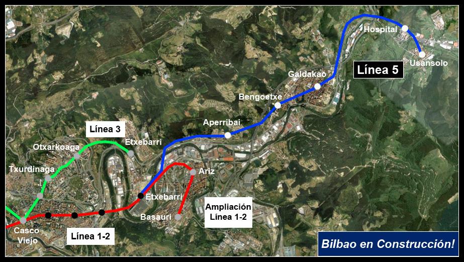 Plano Línea 5 Metro Bilbao Google Earth AdemA Bilbao en Construcción