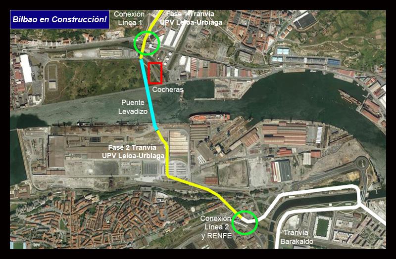 Gráfico Puente Manterola Tranvía Bilba en Cnstrucción! Google Earth