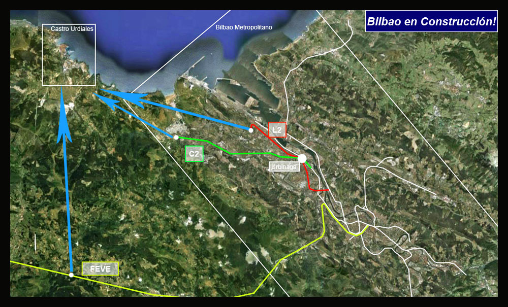 Tren a Castro Urdiales Google Earth
