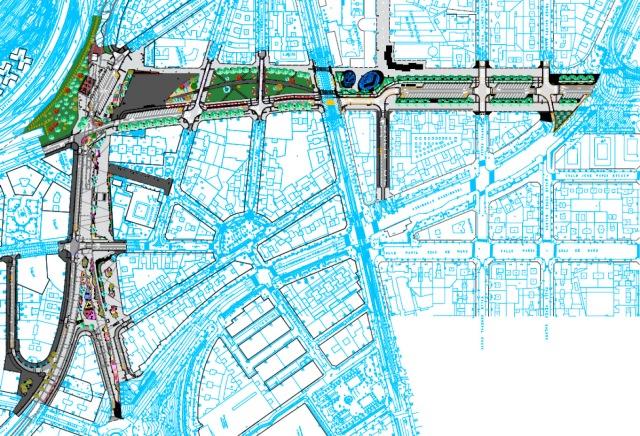Gráfico de la actuación al completo: Reforma de Sabino Arana y Urbanización de la cubierta de FEVE.